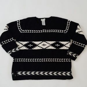 White Stag Black and White Navajo Print Sweater